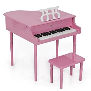 Pink Childs Wood Toy Grand Piano with Bench Kids Piano 30 Key