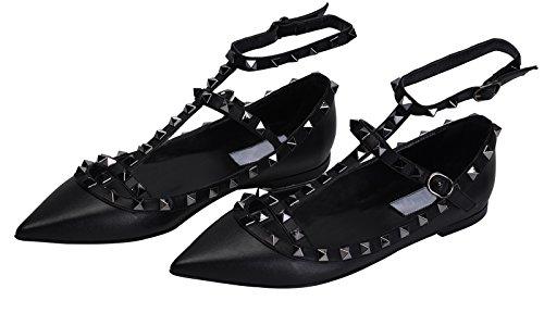 Jiu Du Vrouwen Sexy Enkelbandje Flats Schoenen Spitse Neus Fashion Klinknagels Partijschoen Zwarte Zachte Pu