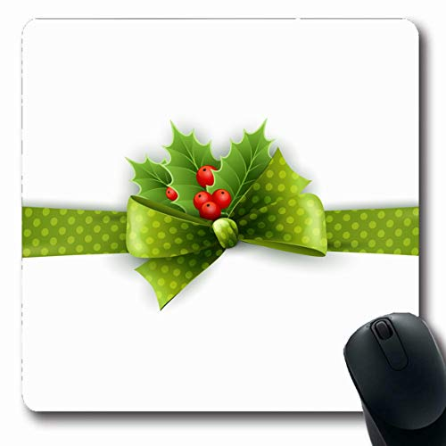 (Ahawoso Mousepad Oblong 7.9x9.8 Inches Polka Green Berry Christmas Ribbon Holly Dots Holidays Red Leaf Bow Celebration Day Design Tree Office Computer Laptop Notebook Mouse Pad,Non-Slip Rubber)