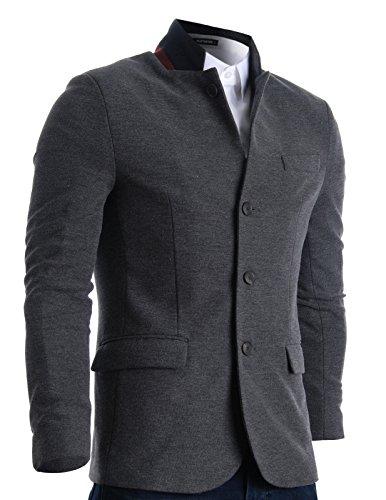 FLATSEVEN Mens Slim Casual Waffle Fabric Blazer Jacket (BJ105) Grey, Mens M