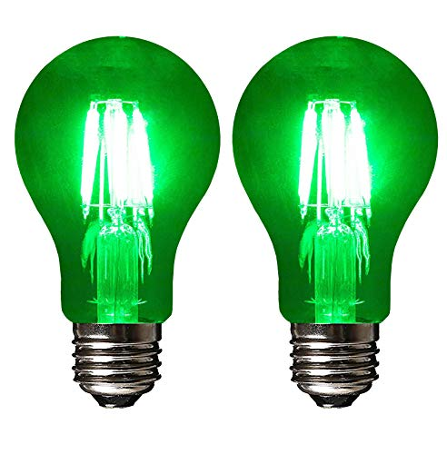 SleekLighting LED 6Watt Filament A19 Green Colored Light Bulbs Dimmable - UL Listed, E26 Base Lightbulb - Energy Saving - Lasts for 25000 Hours - Heavy Duty Glass - 2 Pack (Blue And Green Lightbulbs)