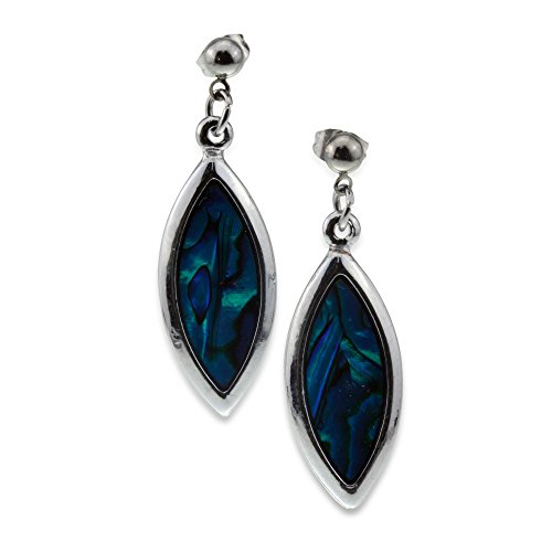 Elegant Unique Silver and Blue Green Abalone Paua Shell Teardrop Designer Dangle Earrings (Paua Shell Teardrop)