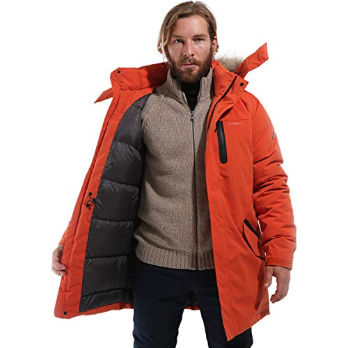 DUCKMOUNT Glen J Men's Goose Down Jacket with Racoon Fur/Fully Seam Sealed/Welding Pockets