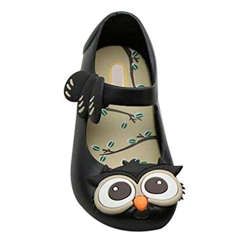 Zhuhaixmy Baby Mädchen Jungen Eule Weich Gelee Fisch Mund Anti-Rutsch Lässige Schuhe Kleinkind Kinder Strand Sandalen Regen Stiefel Schwarz