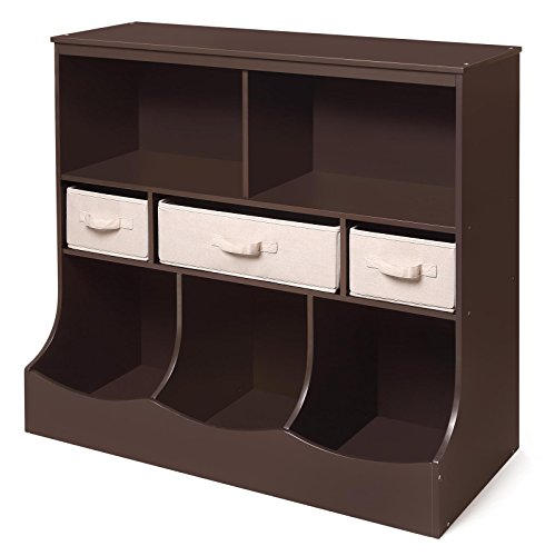 Freestanding Combo Shelf Cubby Bin Storage Organizer Unit with 3 Baskets