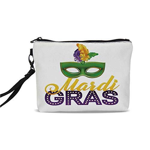Mardi Gras Simple Cosmetic Bag,Stylized Calligraphy and Typography