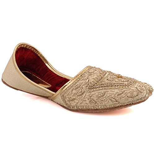 "(Unze Men ""CLIVE"" Mehndi Wedding Embroidered Party Rhinestone Tila Indian Jamawar Khussa Shoes UK Size 6-12 - UN-206)"