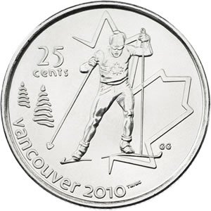 Vancouver 2010 Cross Country Skiing 25 Cent Coin (Quarter Coin 25 Cents)