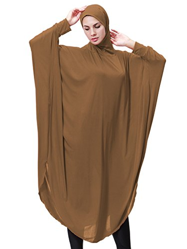 GladThink Womens Muslim Bat's-wing-sleeves Dress Hijab Two in One CAMEL M