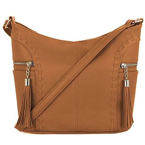 DELUXITY | Crossbody Hobo Slouch Bucket Purse Bag | Side Pockets with Tassel | Adjustable Strap | Tan