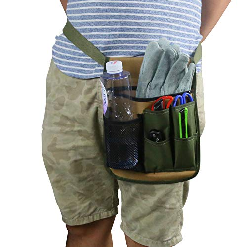 QEES Garden Tool Apron, Gardening Tool Belt with Water Bottle Holder, Adjustable Utility Tool Pouch with Belt for Men/Women for Home, Garden, RV, Cleaning WQ47