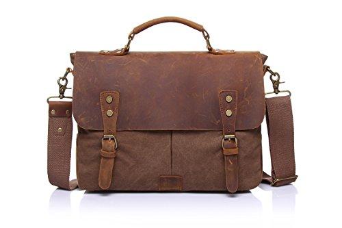 Jessica Leather Wallet (EconoLed Men's Vintage Genuine Leather Shoulder Messenger Laptop Briefcase Satchel Bag Fit 14 inch Laptop,)