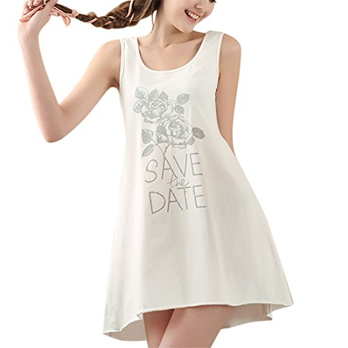 Women Girls Nightgown Cotton Sleep Tee Sleeveless Shirt Scoopneck Sleepwear Nightshirt (Tranquil Tank Dress)