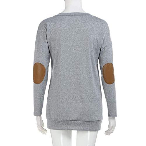 Donna Autunno Giovane Patchwork Ragazza Rotondo Elegante Libero Chic Manica Grau Moda Tempo Tops Monocromo Collo Camicie Lungo Lunga Bluse Blusa Primaverile Felpe YcfdTwtqY