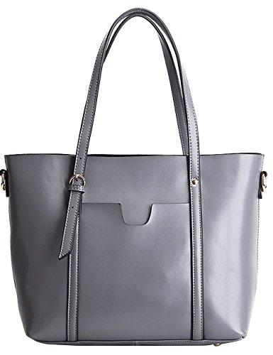 CUKKE Damen Echtes Leder Handtasche Elegant Taschen Schwarz Grau