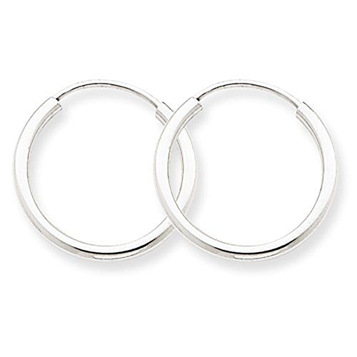 14K White Gold Small Continuous Endless Hoop Earrings, (1.5mm Tube) ()