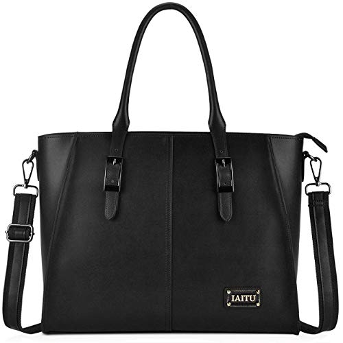(IAITU Laptop Tote Bag, 15.6 Inch Professional Laptop Case Satchel Bag Women Computer Bag for Office Business (Black))