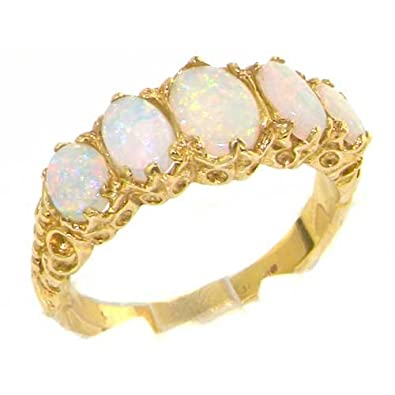 LetsBuyGold 10k Yellow Gold Real Genuine Opal Womens Band Ring