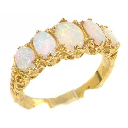 10k Yellow Gold Natural Opal Womens Band Ring - Sizes 4 to 12 Available by LetsBuyGold