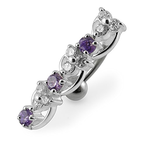 Purple Gemstone Fancy Round with Flower Link Reverse Bar 925 Sterling Silver with Stainless Steel Belly Button Navel Rings ()