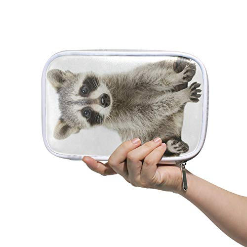 Funny Raccoon Big Pencil Case Multifunction Leather Makeup Brushes Bag Organizer Zip Bags]()