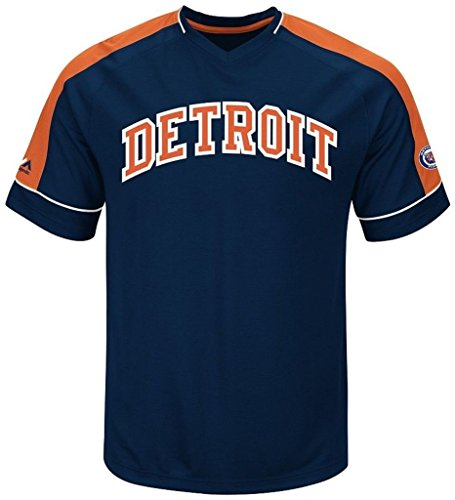VF Detroit Tigers MLB Mens Majestic Cooperstown Vintage Hit Jersey Navy Blue Big & Tall Sizes (3XT)