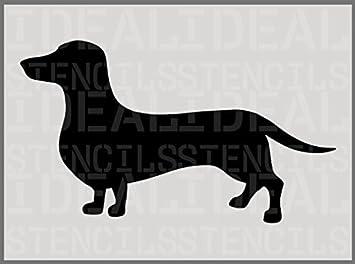 perro Salchicha salchicha perro plantilla, perro silueta plantilla, decoración casa, artesanía pintura Ideal Stencils - A5(XS) 10.5 x 18CM /4.1 x 7: ...
