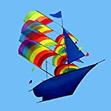 3D Sailboat Kite Sailing Boat Flying Kite with String + Handle Outdoor Sports Fun Toys Kids and Adults