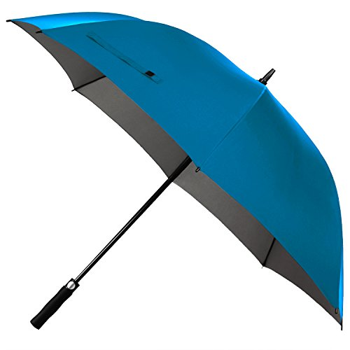 Rainlax Windproof Golf Umbrella 62 inch Oversize Canopy Automatic Open Large Outdoor Golf umbrella Rain&Wind Repellent Sun Protection Stick Umbrellas (Sky Blue) (Canes 6ft Garden)