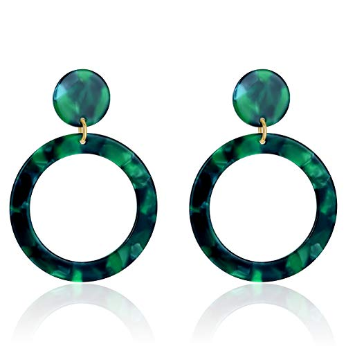UNIWILL Acrylic Earrings Tortoise Shell Resin Earrings Drop Dangle Statement Earrings for Women Fashion Jewelry (Green-01)