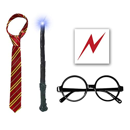 Light Wand with Novelty Glasses Striped Tie, Lightning Scar Tattoo and Time Turner Necklace, Cosplay Dress up Accessories for Kids Girls, 7 PCS -