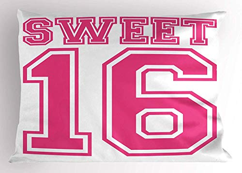 (Ustcyla Sweet 16 Pillow Sham, Teenage Girl Concept College Style Sweet Sixteen Birthday Bold Letters, Decorative Standard Queen Size Printed Pillowcase, 30 X 20 Inches, Hot Pink)