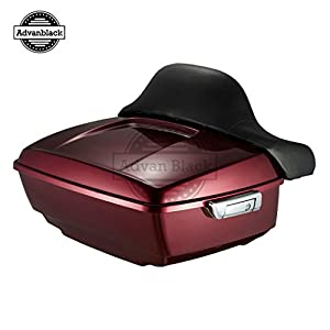 Moto Onfire Velocity Red Sunglo King Tour Paks Pack Fit For Harley Davidson 16 Later Touring Street Glide FLH FLHX FLHR Plastic Luggage Trunk with Wrap-around Backrest