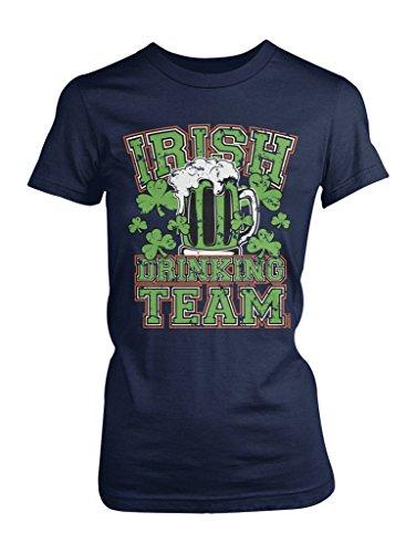 (LOGOPOP Women's Irish Drinking Team T-Shirt, L, Navy)