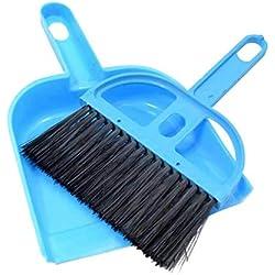 Go get it now New Mini Table Dust Dander Pets Pooper Scooper Poop Cleaning Broom with Dustpan Dogs Plastic Poop Sweeping Tools,Navy Blue