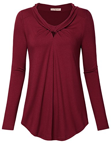 Meow Meow Lace MML Women's Scoop Neck Long Sleeves Blouse Top Pleated Tunic Shirt A-Burgundy M