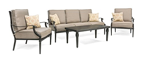 La-Z-Boy Outdoor Lila 4 Piece Patio Furniture Conversation Set (Grey, Aluminum) (1 Patio Sofa, 2 Lounge Chairs, Coffee Table) With Sunbrella All Weather Fabric (Labor Day Outdoor Furniture Sales)