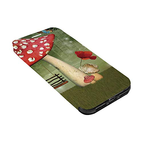 - Mushroom Leather Phone Case,Picnic in Fantasy Garden Wood Table Poppy Flower Swing Teapot and Milk Splash Decorative Compatible with iPhone X, iPhone X