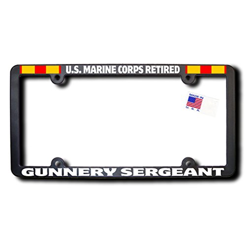 - James E. Reid Design US Marine Corps Retired GUNNERY SERGEANT License Frame w/Reflective Text & Expeditionary Ribbons
