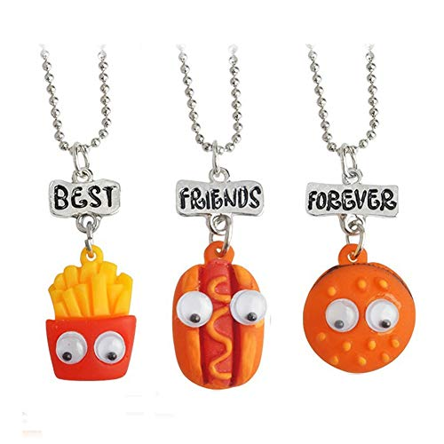 Ameesi 3Pcs Best Friend Chain Necklace Food Pendant Letters Pattern Boy Girl Kid Child Gift Party Jewellery Hamburger