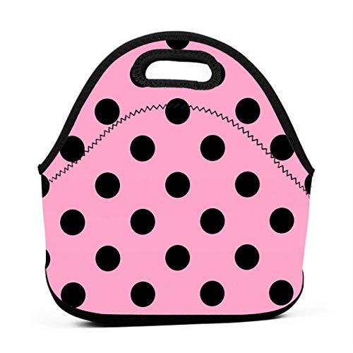 HE - Fashion Neoprene Lunch Bag Insulated Polka Dot Pink Lunch Tote Bags Lunchbox Handbag for Work School Outdoor Picnic ()