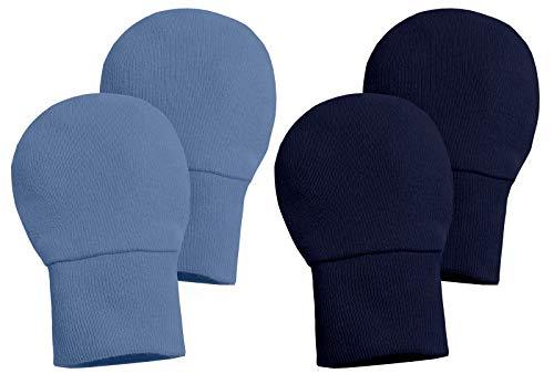 City Threads Newborn Cotton Gloves - No Scratch Mittens Safe Baby Boys Girls Teething Chemical Free, Denim Blue/Navy, Newborn