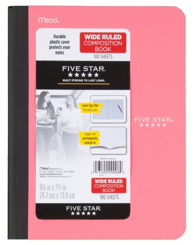 Five Star Composition Book, Wide Ruled, 100 Sheets, 9.75 x 7.5 Inch Sheet Size, Assorted - Color May Vary (09006) Photo #3