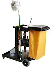 Mind Reader Commercial Janitorial Utility Cart with Yellow Vinyl Bag, Black