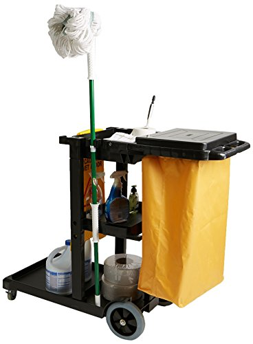 Mind Reader Commercial Janitorial Utility Cart with Yellow Vinyl Bag, Black - Capacity Cleaning Cart