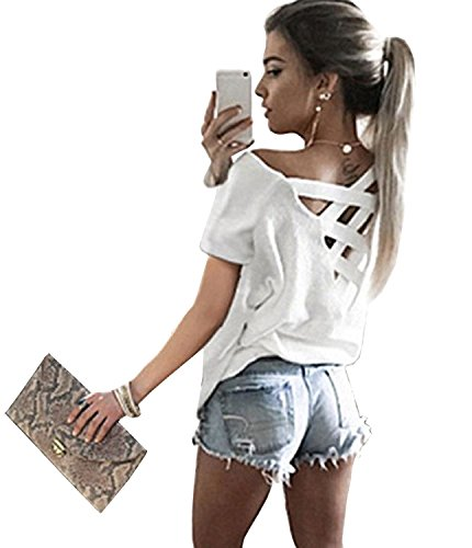 Women's Summer Cut Out Loose Shirts Criss Cross Backless Top Tee Blouse,White -