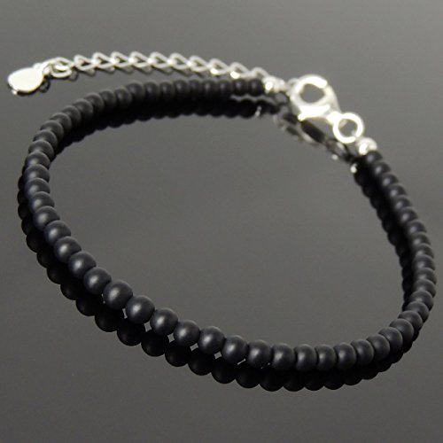 (Men and Women Bracelet Handmade with 3mm Matte Black Onyx and Genuine 925 Sterling Silver Beads, Clasp with Link)