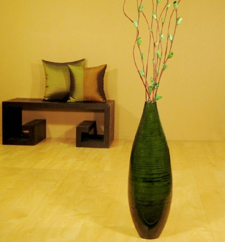 Earth Globe Vase - Shopping The Globe 24 Inch Bamboo Teardrop Floor Vase (Floral Not Included) - Emerald Green