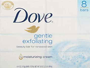 Dove Gentle Exfoliating Beauty Bar, 4 Ounce, 8 Count Pack of 3