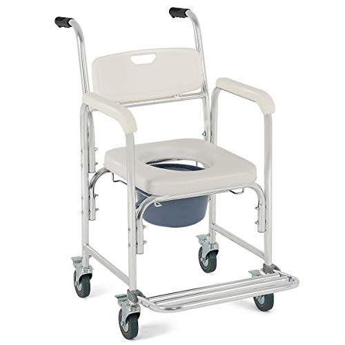 - White 4 in 1 Multifunctional PU Commode Seat Wheelchair Shower Chair Ordinary Chair Detachable Bucket Portable Medical Aid Mobility Elderly Handicapped People Pregnant Women Hospital Medical Chair
